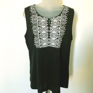 Womans J CREW Black Embroidered Placket Tank Top L